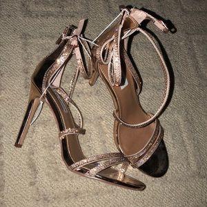 Rose gold Sandal heels NWOT